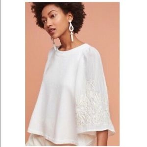 Anthropologie Eri & Ali Embroidered Batwing Top